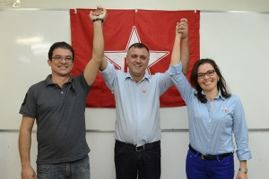 Candidatos com Everaldo Rocha, presidente do PT Botucatu